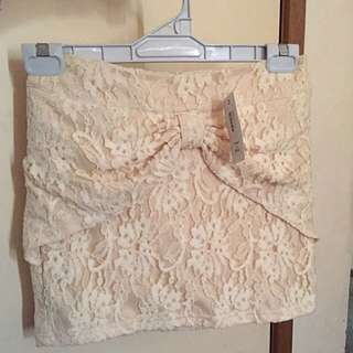 BNWT Size 8 Beige Thick Lace Skirt With Bow Detail Mini Skirt