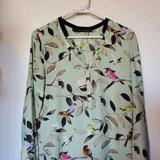 Zara Blouse In Bird Print
