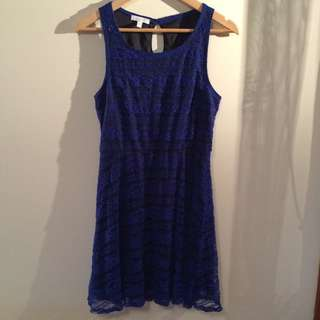 Womens Size L (12) Black With Blue Lace Dress