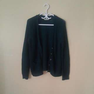 Dark Green Blue Notes Cardigan