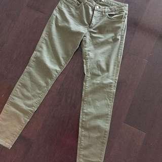 Zara Basic Jeans In Khaki Green