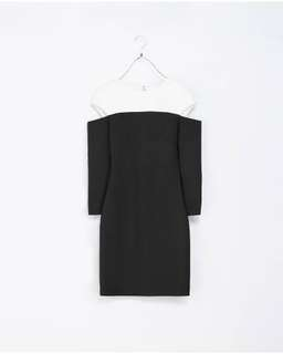 zara dress with cut-out shoulders