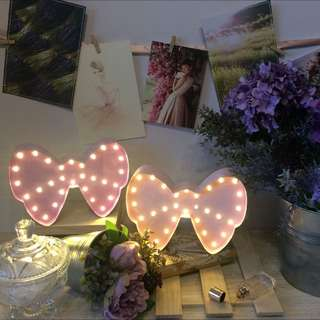 Marquee Night Light - Ribbon Bow pretty in pink and purple