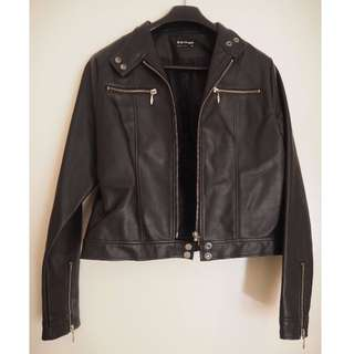Black Fake Faux Leather Jacket