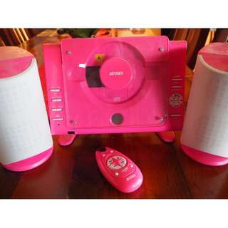Jensen Pink Front Loading CD Player with Remote Control and Speakers