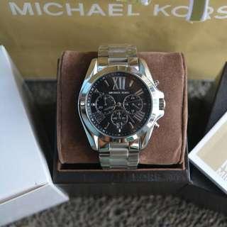 Michael Kors Bradshaw Silver Black Dial Watch (MK5705)