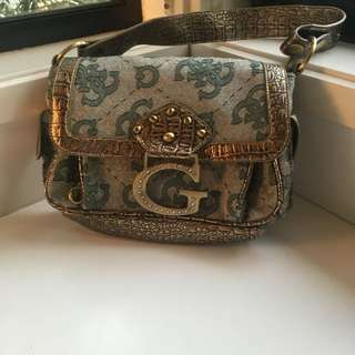 GUESS handbag gold and teal