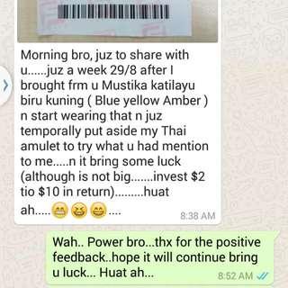 Grade A Katilayu Biru kuning Positive  Feedback Nickname : Fishing Amulet 06/09/2016