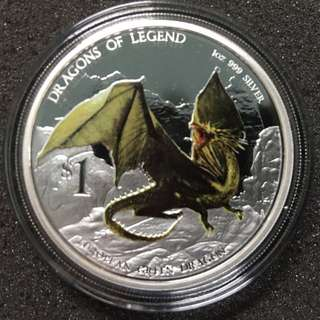 Tuvalu 2012 $1 Dragons of Legend, Silver Proof Coin