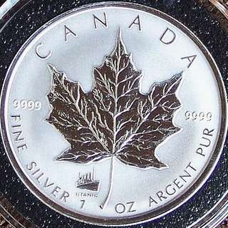 Rare 1998 & 2012 Maple Leaf .9999 Silver Coins with Titanic Privy! 1 Oz each!