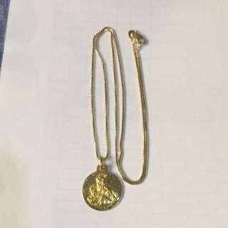 14k Gold Necklace And 18k Buddah Pendant