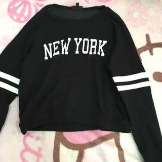 Topshop Black Cropped Sweatshirt