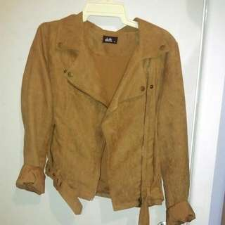 Camel Coloured Suede Biker Jacket