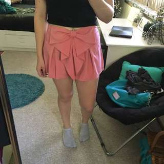 Ally pink bow skorts