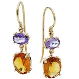 9CT CITRINE AND AMETHYST TWO STEP EARRINGS
