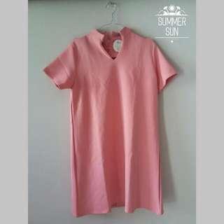 Vneck Dress - Pink (SALE)