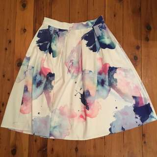 High Waisted White Colourful Skirt Size 10