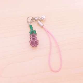 茄子水晶串珠吊飾