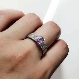 天然紫水晶 925純銀女戒 戒指
