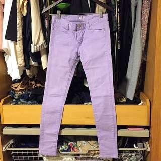韓 粉紫牛仔長褲👖