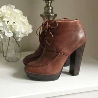 PENDING Santini 100% Leather Brown Lace Up High Heel Ankle Boots Size 6