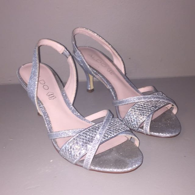 """2"""" Silver Sparkling Aldo Heels"""