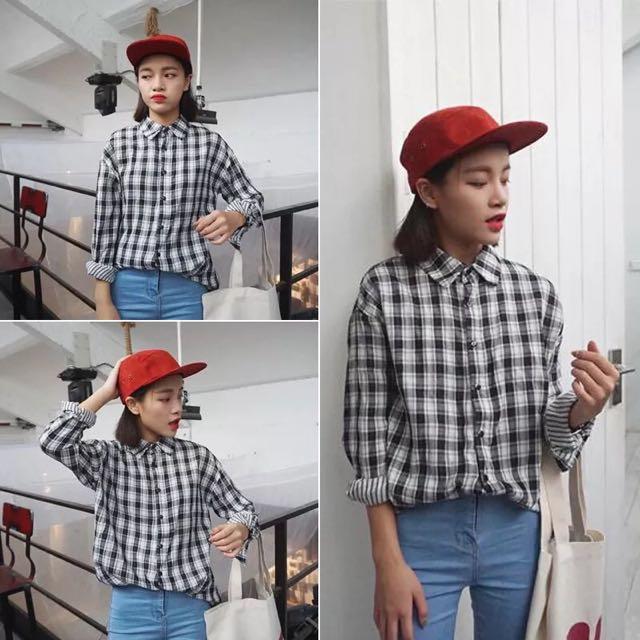 韓版學院風格子寬鬆襯衫