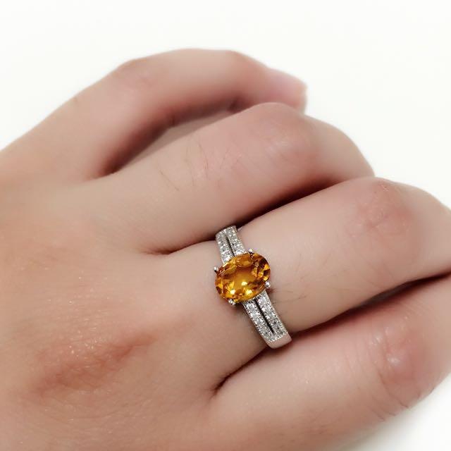 天然黃水晶 925純銀鑲豪華鋯石女戒 戒指