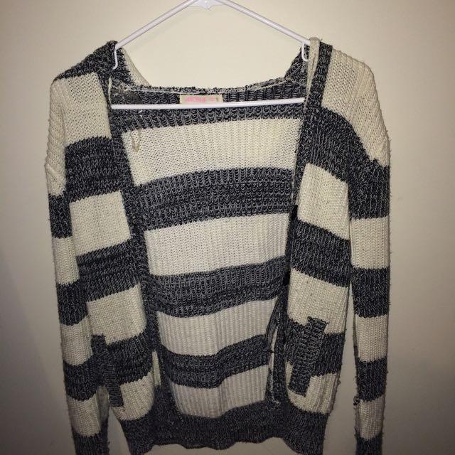 ardene white & grey knit cardigan