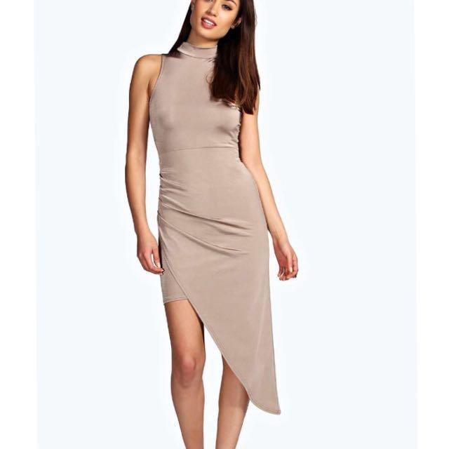 Boohoo Night Asymmetric midi Dress