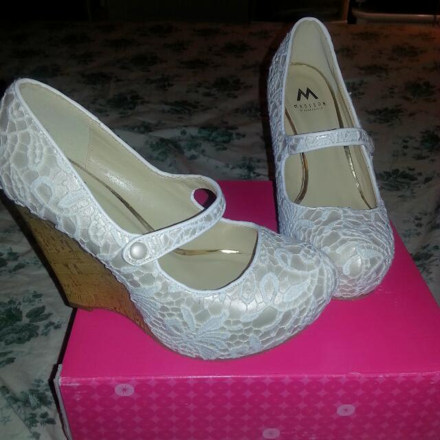 brand new white wedges