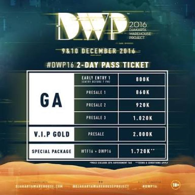 Djakarta Warehouse Project 2016 Ticket (DWP 2016)