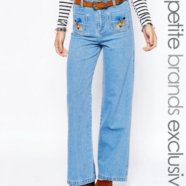 Flare Jeans Embroidery Pockets