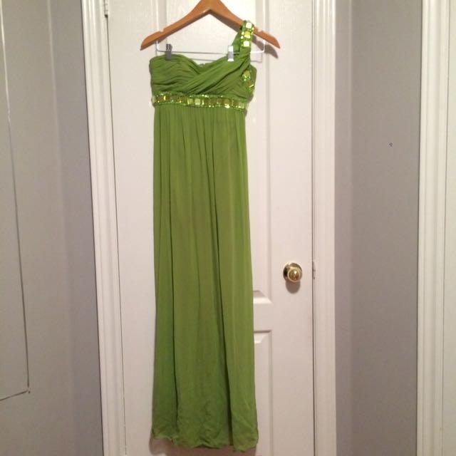 Green Semi Formal One Strap Dress