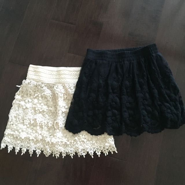 Guess Skirt And White Lace Skirt