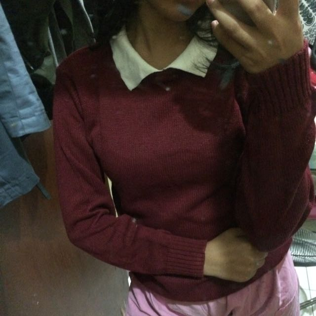 Knitwear Sweater uniform maroon collar