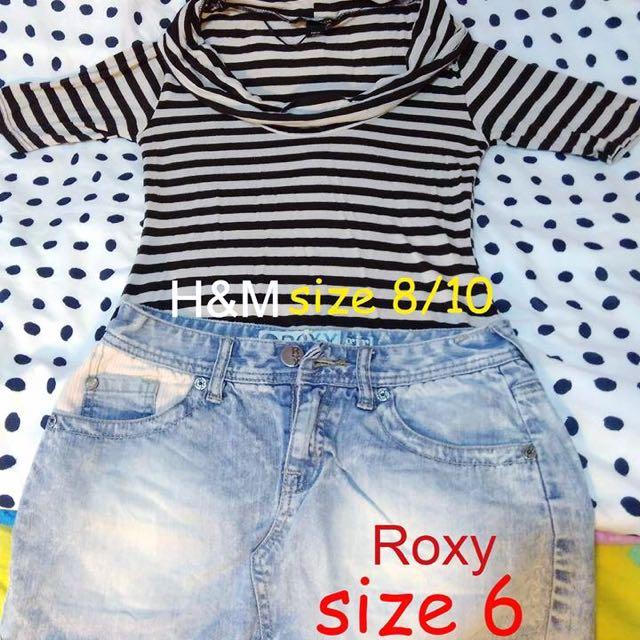 Off Shoulder/Cowl Neck H&M Top And Rocky Denim Skirt