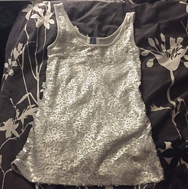 Old Navy Silver Sequenced Tank Top