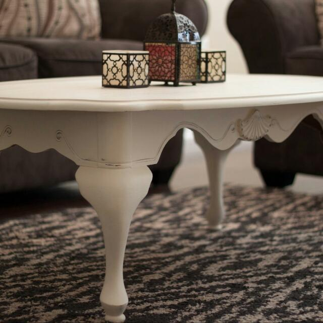 Old White Chalk Painted Coffee Table And Matching Side Table