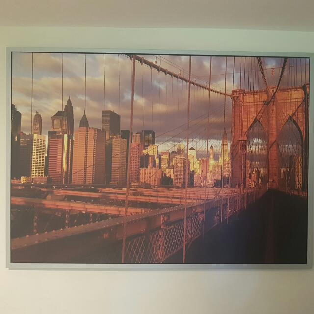 Picture With Built In Frame Of New York City/Brooklyn Bridge