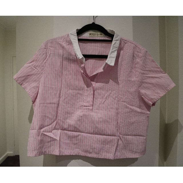 pink and white stripes crop top shirt
