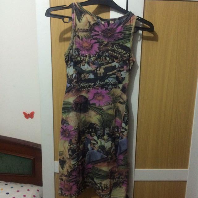 Preloved Cute Dress (Havana Cuba Motif)