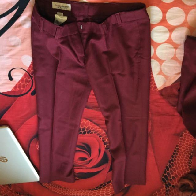 Qatar Airways Uniform Maroon Pants
