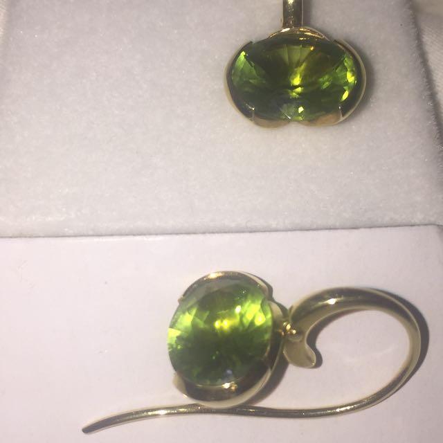 Rox Oval cut Peridot earrings 18ct Yellow Gold