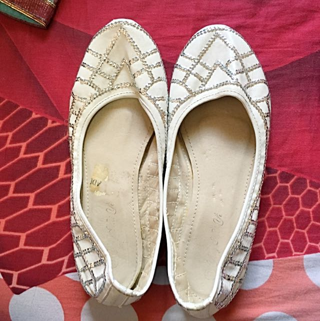 Silver Pleated White Flats