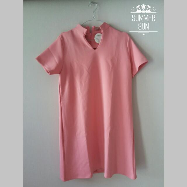 Vneck Dress - Pink