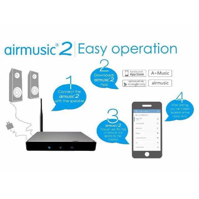 Wireless Wifi Audio Receiver AirMusic 2 AirPlay DLNA Qplay