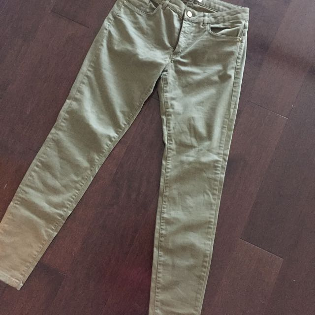Zara Basic Jeans In Khaki Green