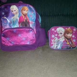Frozen backpack and lunchbag for sale