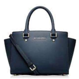 "MICHAEL KORS- ""Selma"" Handbag. Never Used. Navy Blue. Authentic"